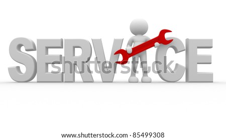 3d people - human character with wrench. 3d render illustration - stock photo