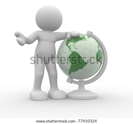 3d people icon and the earth globe -This is a 3d render illustration - stock photo