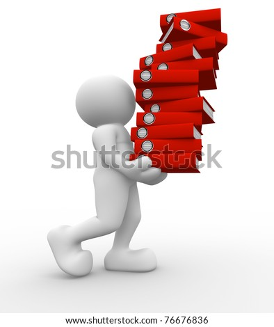 3d people icon carrying a stack of folders - This is a 3d render illustration - stock photo