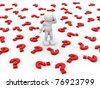 3d people icon surrounded by question marks - This is a 3d render illustration - stock photo