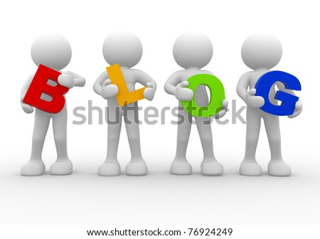 3d people icon the word blog- This is a 3d render illustration - stock photo