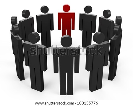 3D people in a circle. Social networking.