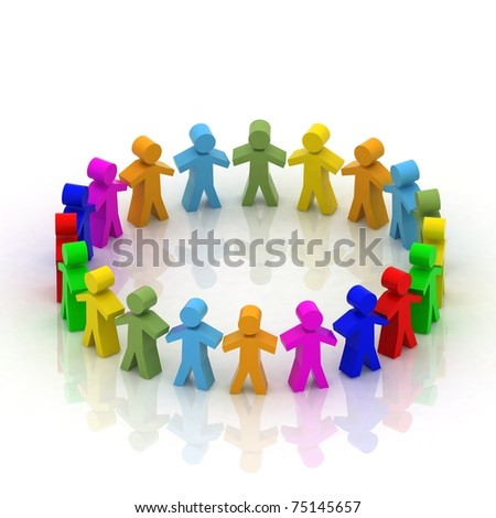 3d people in  circle - stock photo