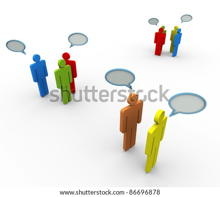 3d people in group with speech bubble. Concept of online group discussion, forum, chat, social network etc. - stock photo