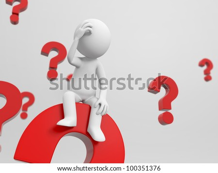 3d people is thinking in a pile of question marks - stock photo