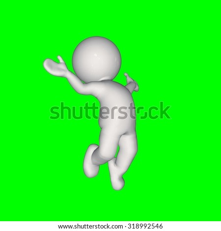 3D People -  jump 1 - green screen