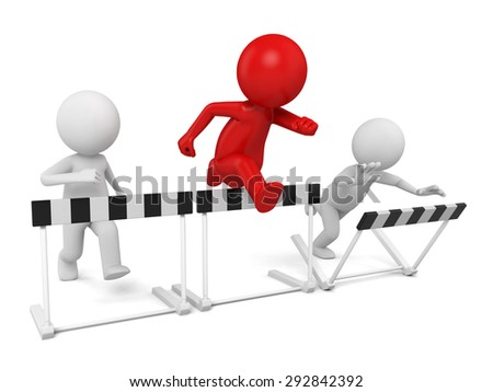 3d people jumping over some hurdle obstacles. 3d image. Isolated white background - stock photo