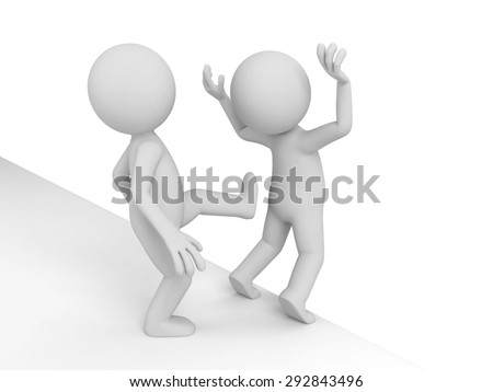 3d people kick another to cliff. 3d image. Isolated white background. - stock photo