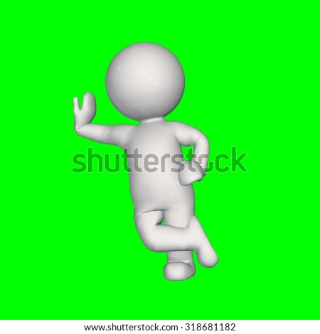 3D people - lean right - green screen