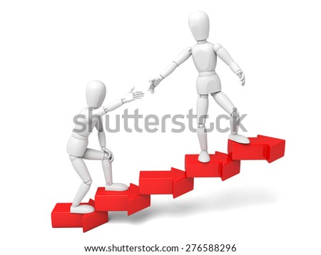3d people lifting upwards an arrow. Teamwork. 3d image. Isolated white background