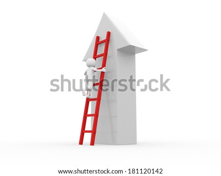 3d people - man climbing stairs with arrow - stock photo