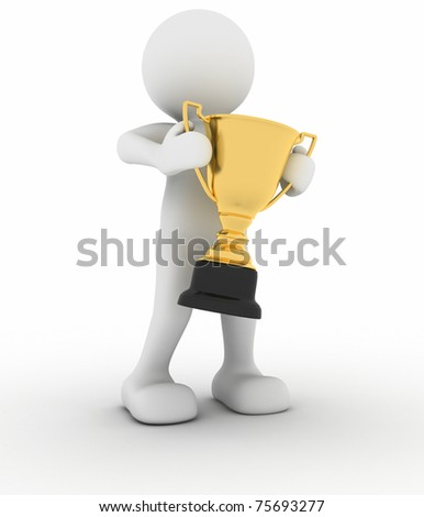 3d people - man holding golden trophy - stock photo