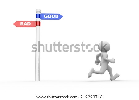 3d people - man, people standing in front of a road sign. Confusion - good or bad - stock photo