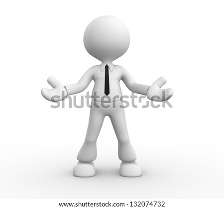 3d people - man, people - welcome gesture