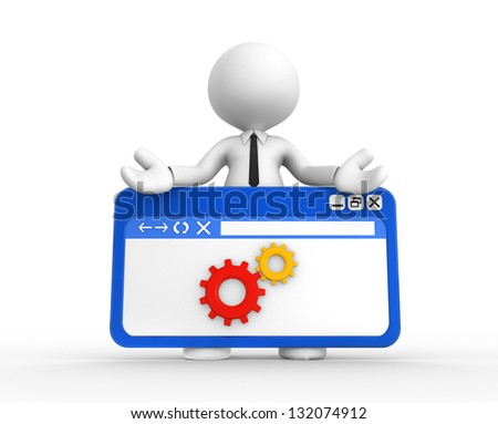 3d people - man, people with a browser window and gear mechanism. Wheel - stock photo
