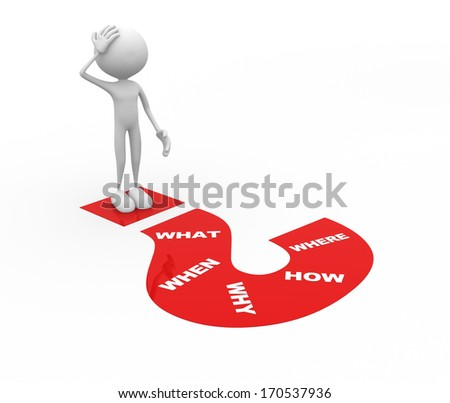 3d people - man, person and a big question mark. - stock photo