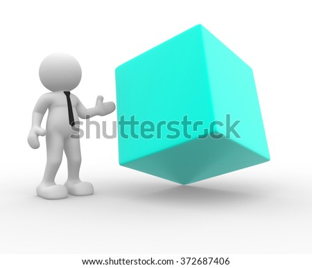 3d people - man, person and a blank cube.