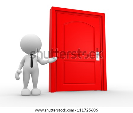 3d people - man, person and a door. - stock photo