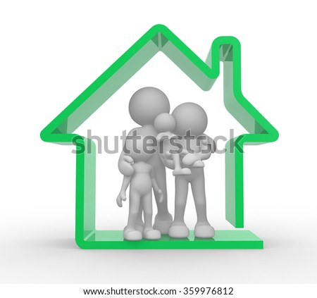 3d people - man, person and a house. Kids and parents. Family house .  - stock photo