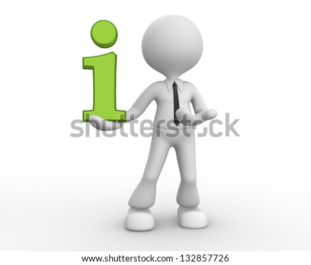 3d people - man, person and a information icon. - stock photo