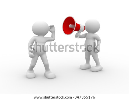 3d people - man, person and a megaphone - stock photo