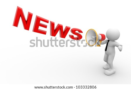 3d people - man, person and  a megaphone. News concept. - stock photo