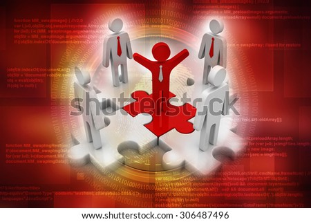 3d people - man, person and a pieces of puzzle ( jigsaw) . Partnership or leadership - stock photo