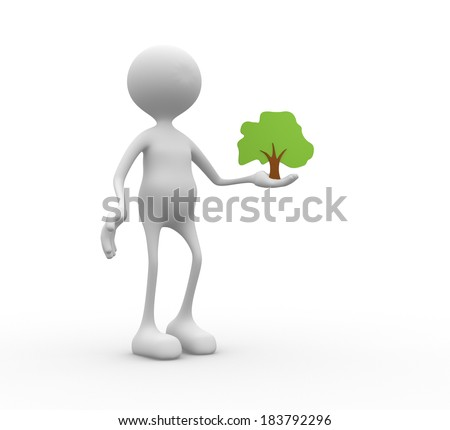 3d people - man, person and a tree. Tree  drawing