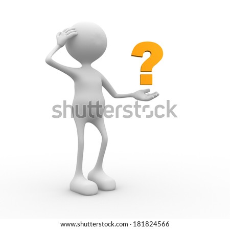 3d people - man, person and a yellow question mark - stock photo