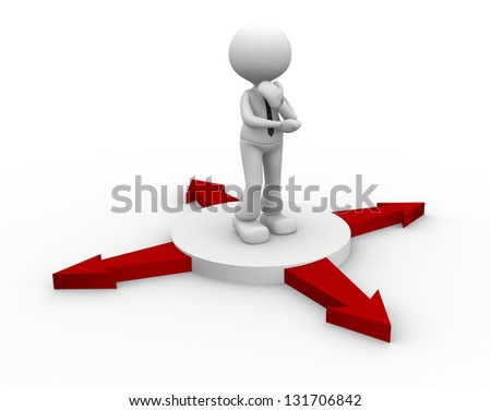 3d people - man , person and arrows in different directions. Concept of confusion - stock photo