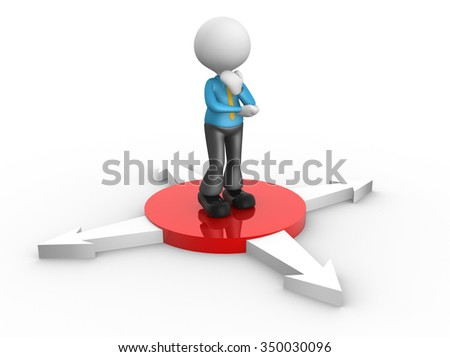3d people - man , person and arrows in different directions. Concept of confusion . - stock photo