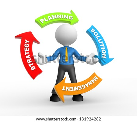 3d people - man, person and arrows with conceptual image of strategy. - stock photo