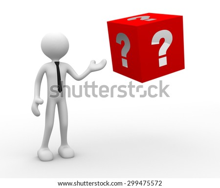3d people - man, person and big cube. Question mark - stock photo