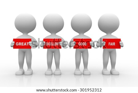 3d people - man, person and board.  - stock photo