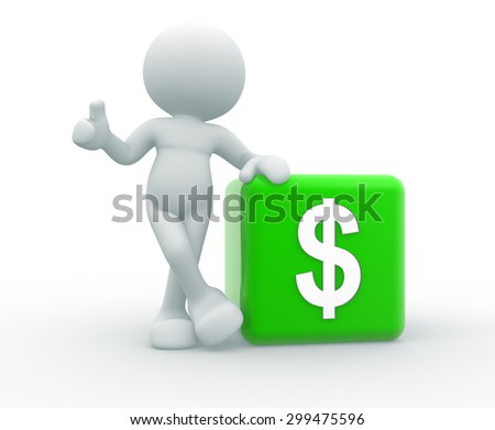 3d people -  man, person and dollar finance money currency - stock photo