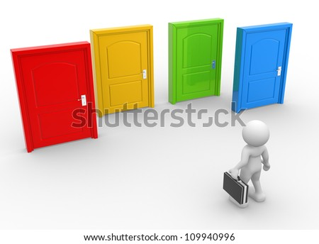 3d people - man, person and  doors different . Businessman - stock photo
