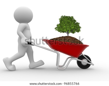 3d people - man, person  and earth with a tree green in wheelbarrow