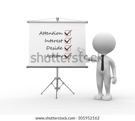 3d people - man, person and flipchart. AIDA (attention, interest, desire, action) - stock photo