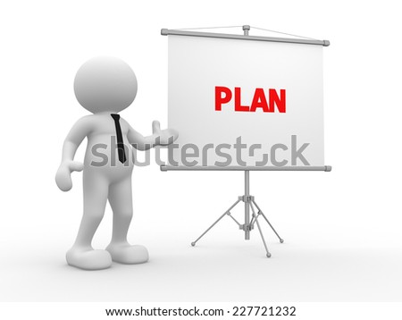 3d people - man, person and flipchart.Plan concept - stock photo