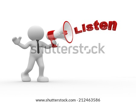 3d people - man, person and megaphone - stock photo