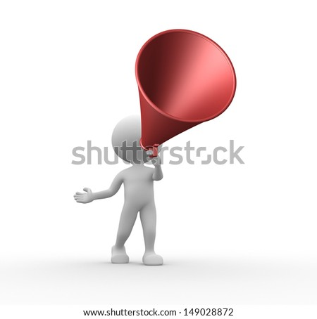 3d people - man, person and old megaphone - stock photo