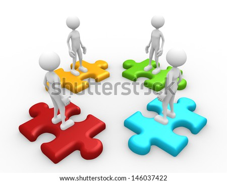 3d people - man, person and pieces of puzzle