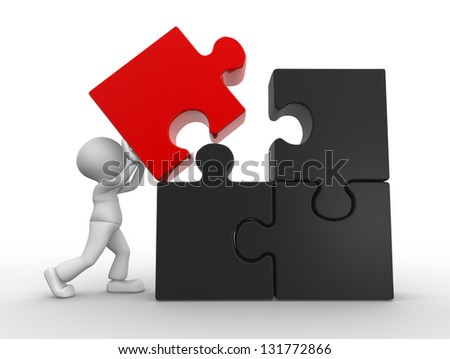 3d people - man, person and puzzle pieces ( jigsaw ) - stock photo
