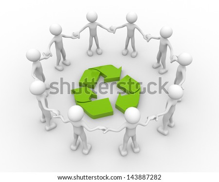 3d people - man, person and recycle sign. - stock photo