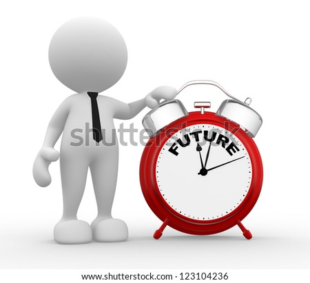 3d people - man, person and red alarm clock. Future - stock photo