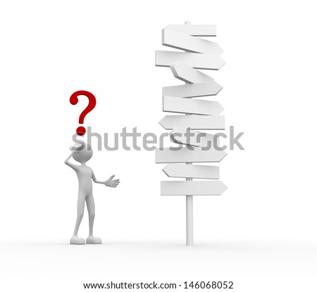3d people - man, person and road sign. Question mark. Confused - stock photo
