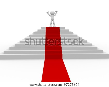 3d people - man, person and stair with a red carpet . Winner. - stock photo