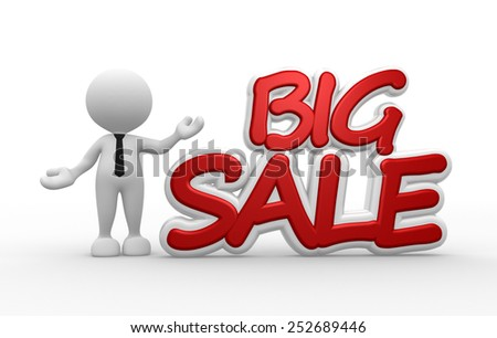 3d people - man, person and text big sale - stock photo
