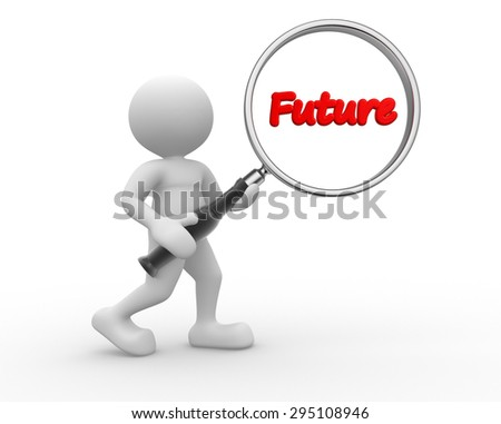 3d people - man, person and word future, with a magnifying glass - stock photo