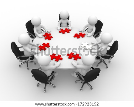 3d people - man, person at a round table and puzzle pieces ( jigsaw)  - stock photo
